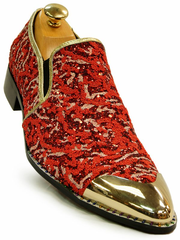 Fiesso Red Multicolor Glitter Embellish Gold Metal Point Toe Party Slip On Shoe