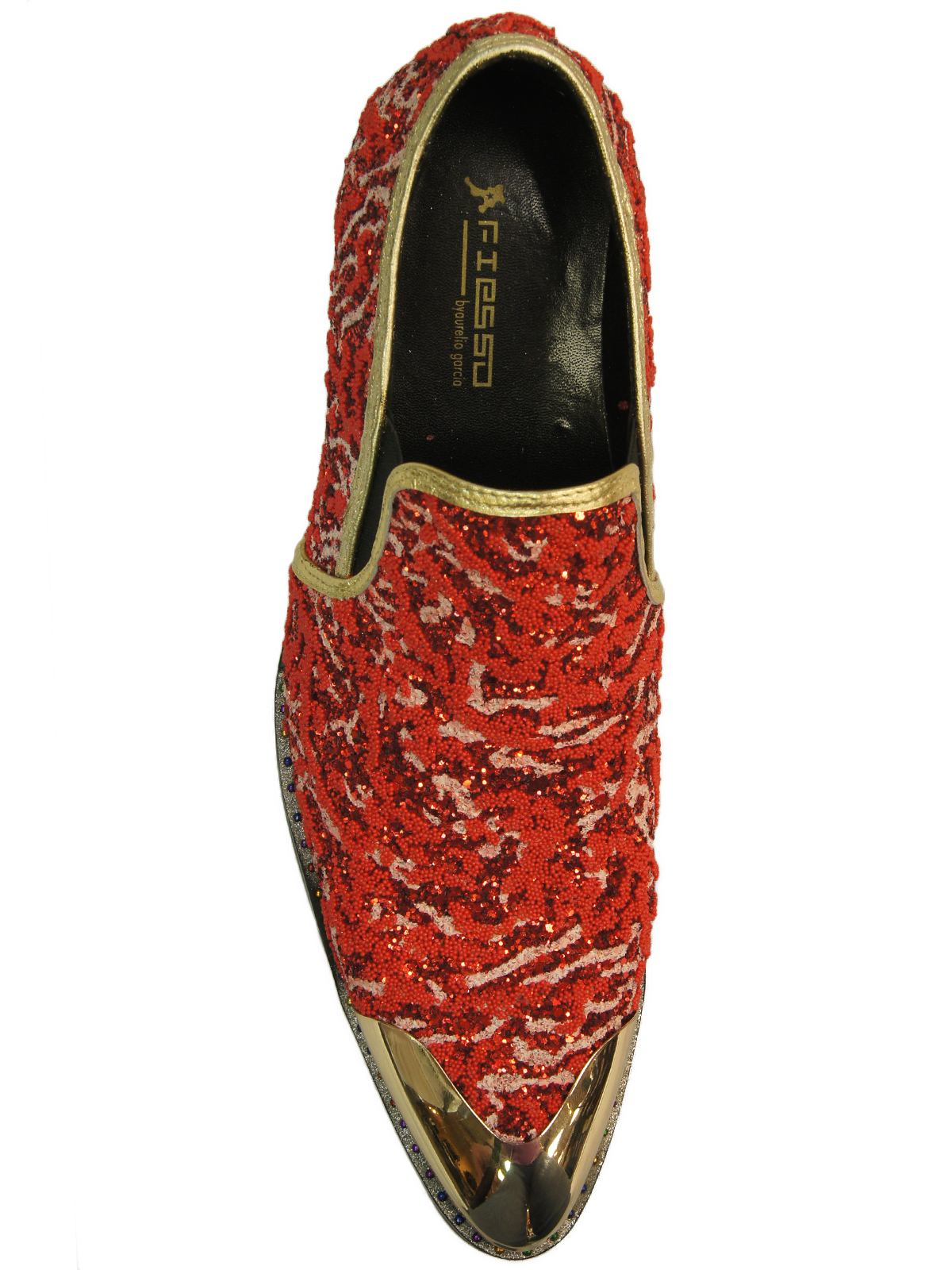 c64792ab6 Fiesso Red Multicolor Glitter Embellish Gold Metal Point Toe Party Slip On  Shoe