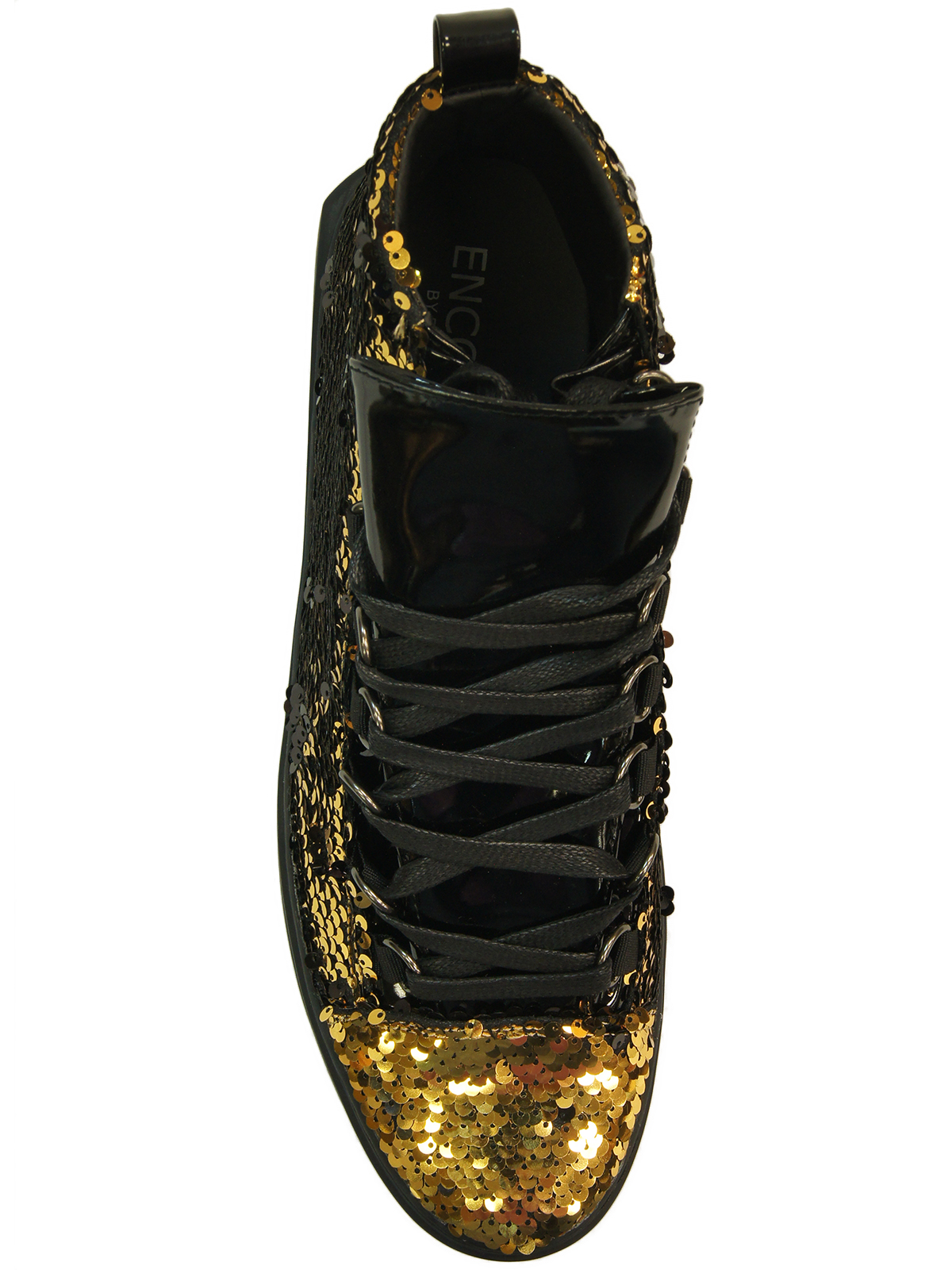 fiesso black gold bling sequin high top dress casual