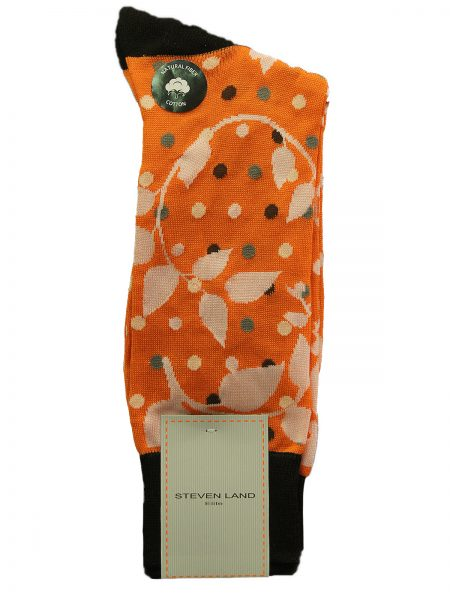 Steven Land Orange Multicolor Vine Design Natural Fiber Cotton Tube Sock