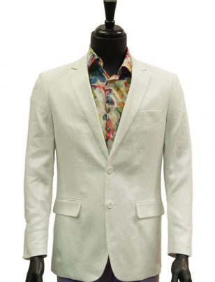 Afazzy White Two Button Lightweight Linen Summer Blazer Jacket