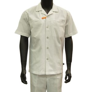 Stacy Adams Mens White Stretch Cotton Linen Two Piece Short Sleeve Walking Suit