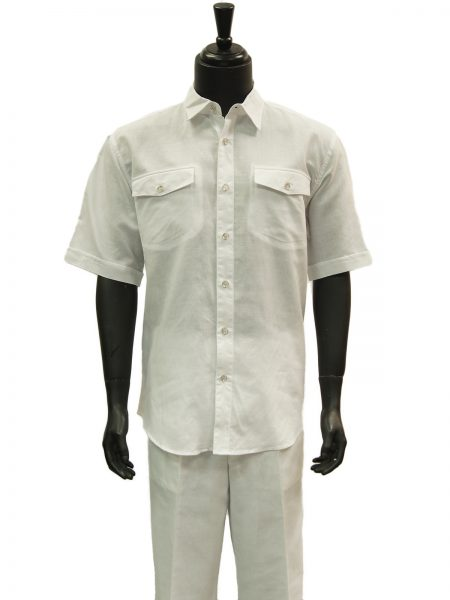 Lanzzino Men White Linen 2 Piece Short Sleeve Casual Walking Suit