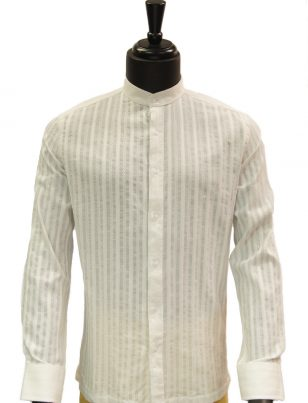 Lanzzino Mens Ivory Cotton Stripped Mandarin Collar Button Up Dress Shirt