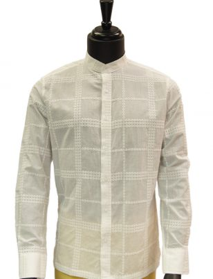 Lanzzino Mens Ivory Cotton Embroidered Mandarin Collar Button Up Dress Shirt