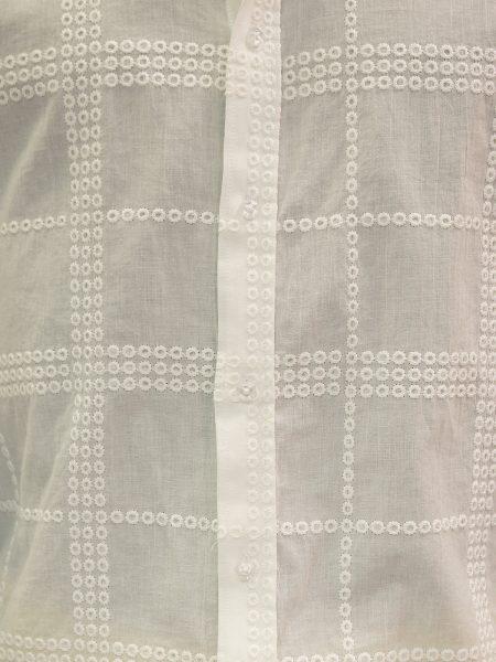 Lanzzino Mens White Cotton Embroidered Mandarin Collar Button Up Dress Shirt