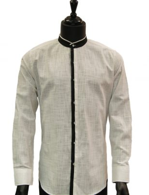 Lanzzino Mens White Black Trimming Linen Mandarin Collar Button Up Dress Shirt