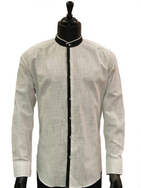 Lanzzino Mens White Black Trimming Linen Mandarin Collar Button Up Dress Shirt