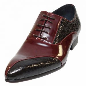 Fiesso Mens Burgundy Two Tone Leather Oxfords Pointed Toe Lace Up Fashion Shoe