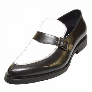 Fiesso Black White Leather Monk Strap Penny Loafer Comfort Sole Slip On Shoe