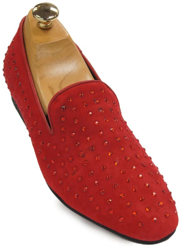 Fiesso Men Red Suede Rhinestone Dress Casual Slipper Loafer Party Trending Shoe