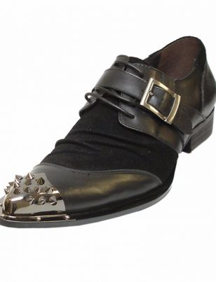 Black Fiesso Leather Monk Strap Mens Fashion Spike Metal Toe Fun Trending Shoes