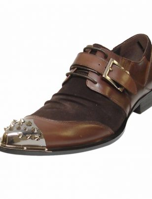 Brown Fiesso Leather Monk Strap Mens Fashion Spike Metal Toe Fun Trending Shoes