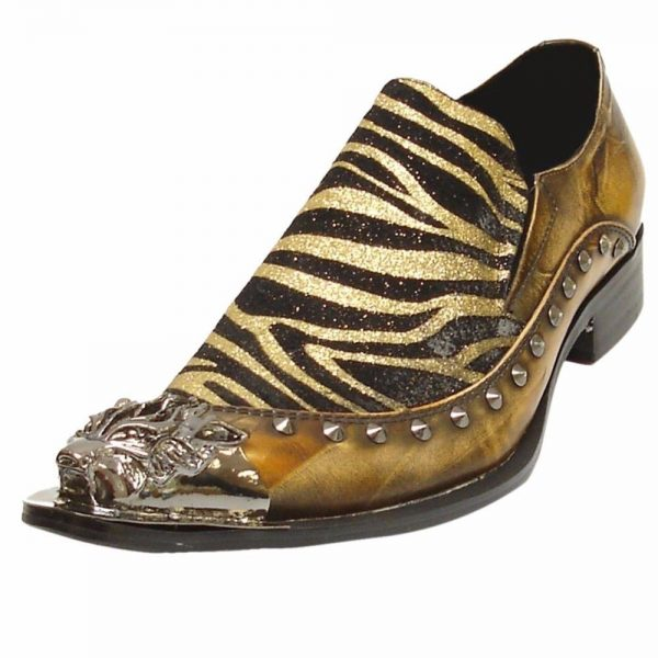 Fiesso Mens Brown Leather Zebra Pattern Studded Metal Toe Trendy Slip On Shoe