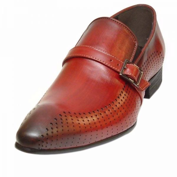 Fiesso Mens Red Shaded Leather Monk Strap Trendy Slip On Dress Casual Shoes