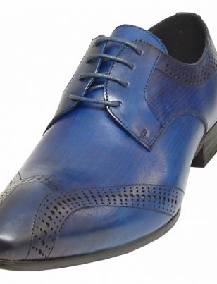 Fiesso Blue Shaded Leather Fashion Brogues Perforated Lace Up Dress Mens Shoe