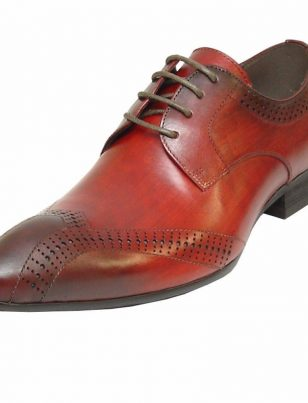 Fiesso Burgundy Red Leather Fashion Brogues Perforated Lace Up Dress Mens Shoe