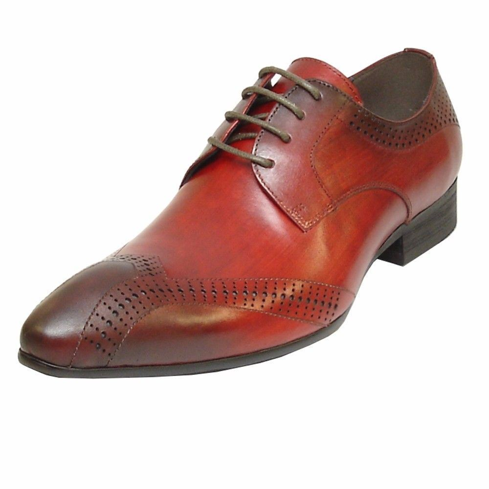 Fiesso Burgundy Red Leather Fashion Brogue Perforated Lace