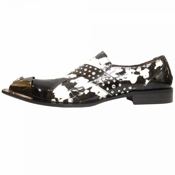 Fiesso Black White Animal Pattern Leather Pointed Metal Toe Mens Slip On Shoe