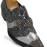 Men Fiesso Silver Snakeskin Pattern Chain Slip On Party Skull Metal Toe Shoe