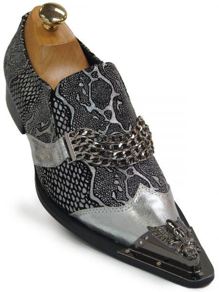 Men Fiesso Silver Snakeskin Pattern Chain Slip On Party Skull Metal Toe Shoe