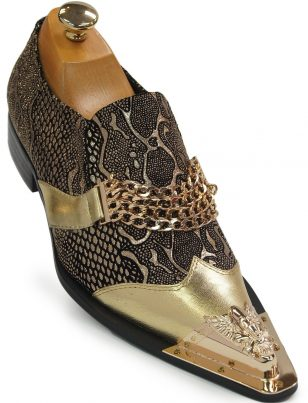 Men Fiesso Gold Black Snakeskin Design Leather SlipOn Skull Metal Toe Party Shoe
