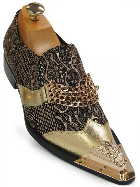 Men Fiesso Gold Black Snakeskin Design Leather SlipOn Skull Metal Toe Party Shoe