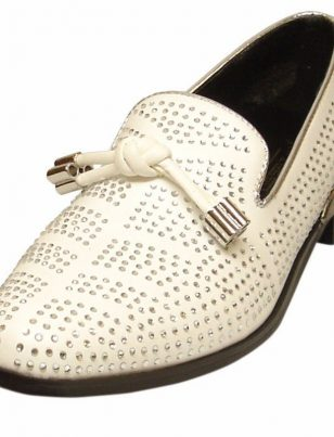 Fiesso Leather White Bling Silver Rhinestone Metal Spike Heel Trendy Dress Shoe