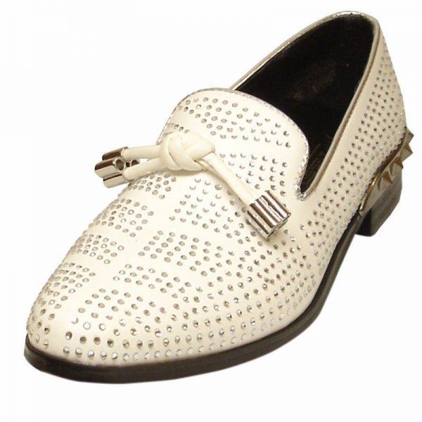 Fiesso Leather White Bling Silver Rhinestone Metal Spike Heel Trendy Dress Shoe
