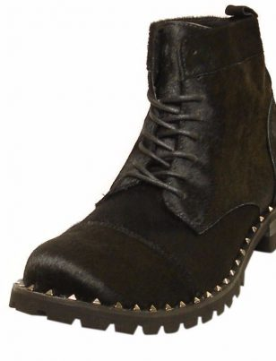 Fiesso Men Black Pony Hair Suede Leather Studded Casual Ankle Combat Trendy Boot