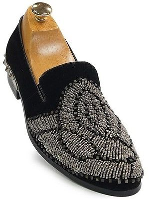 Fiesso Men Black Suede Silver Bead Spike Studded Slip On Loafer Party Shoe