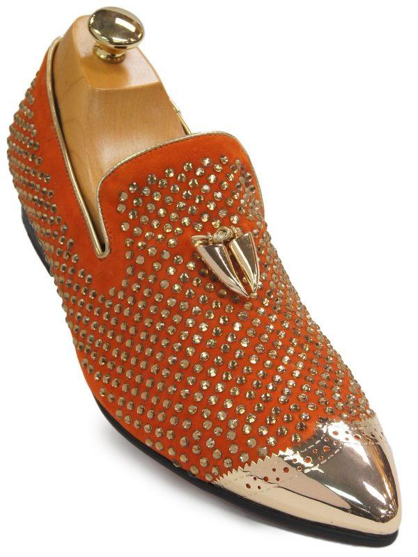 Fiesso Men Orange Suede Gold Tassel Rhinestone Metal Point Toe Loafer Party Shoe