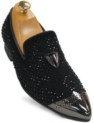 Fiesso Men Black Suede Tassel Rhinestone Metal Point Toe Loafer Party Bling Shoe