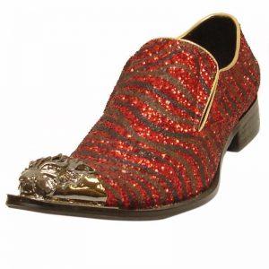 Fiesso Men Leather Red Black Zebra Pattern Metal Toe Dress Casual Bling Shoe