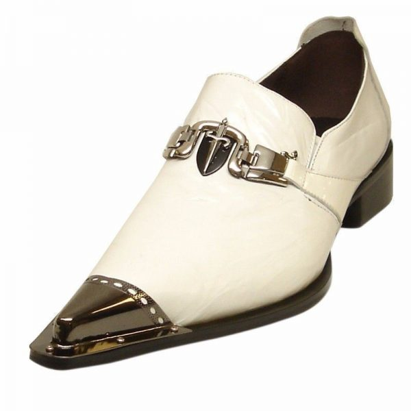 White Fiesso Men Leather Metal Toe Point Sword Design Dress Casual Slip On Shoe