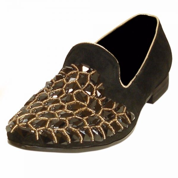 Fiesso Black Leather Rhinestone Embellishment Dress Slip On Slipper Men Shoe
