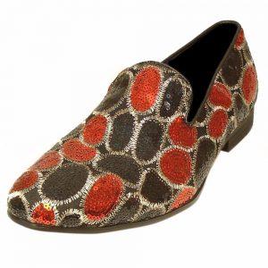 Fiesso Black Red Crystal Sequin Bling Red Bottom SlipOn Slipper Loafer Mens Shoe