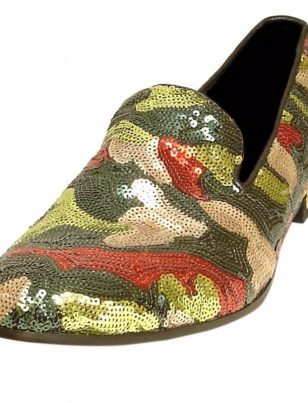 Fiesso Green Camo Sequin Bling Rock Star Leather Metal Spike Party Trendy Shoes