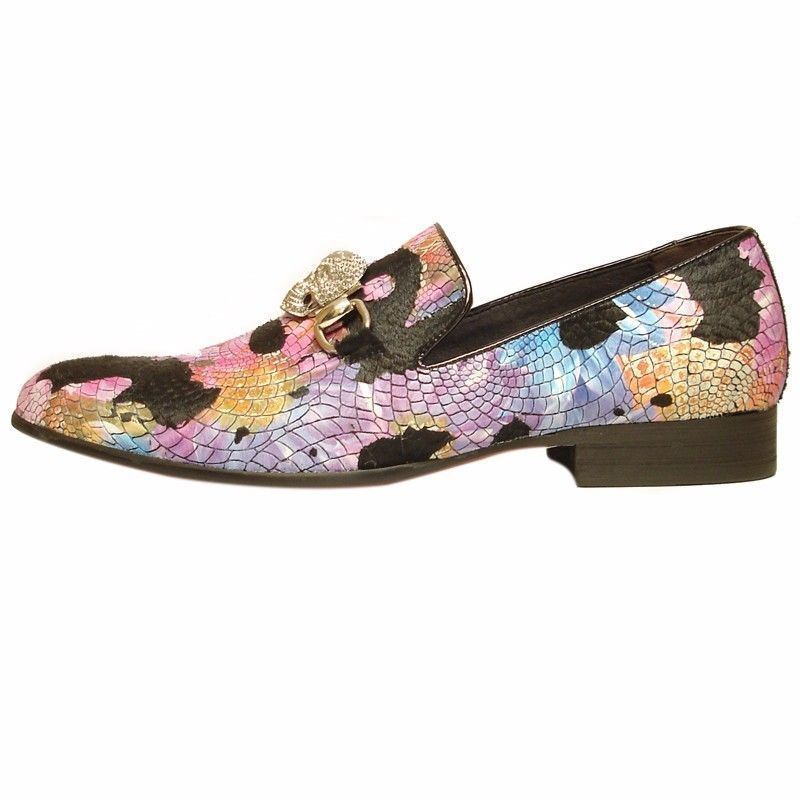 Fiesso Black Multi Color Suede Mens Reptile Print Gold Metal Band Loafer Shoe