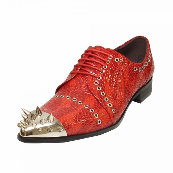 Fiesso Men Red Leather Lace up Semi-Brogues Spiked Metal Toe Fashion Shoe