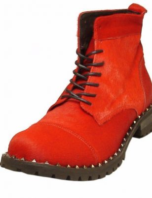 Fiesso Men Red Pony Hair Suede Leather Studded Combat Style Casual Ankle Boot
