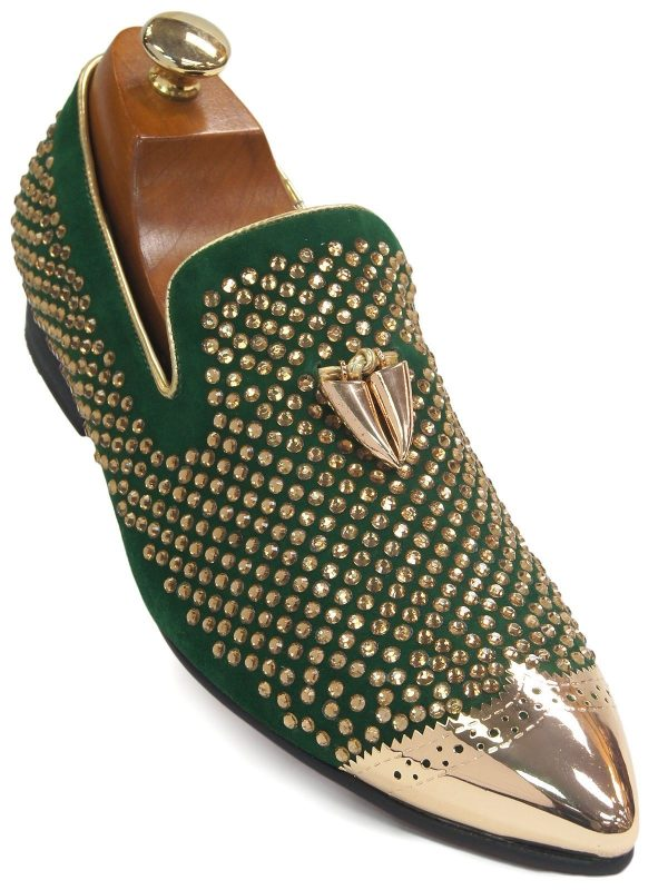 Fiesso Men Green Suede Gold Rhinestone Metal Point Toe Loafer Party Shoe