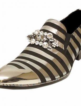 Fiesso Mens Black Silver Leather Slip On Crystal Stone Jewel Metal Cap Toe Shoe