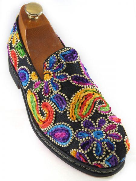 Fiesso Mens Multicolor Floral Stitch Embellishment Fashion Slip On Loafer Shoe