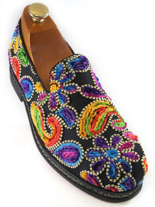 Fiesso Mens Multicolor Floral Stitch Embellishment Fashion Slip On Loafer Shoe