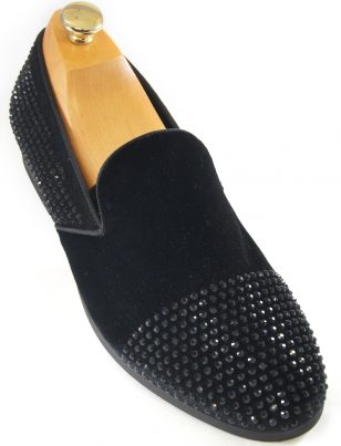 Steve Madden Mens Black Suede Rhinestone Embellish Slip On Loafer Party Shoe