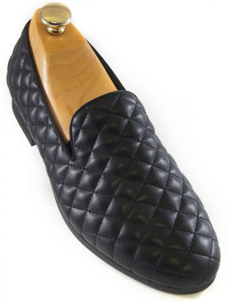 Steve Madden Mens Black Quilted Leather Slip On Loafer Party New Shoe