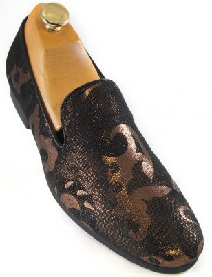 Giorgio Brutini Men Black Bronze Metallic Design Slip On Party Trendy New Shoe