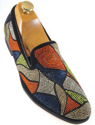 Fiesso Men Blue Orange Silver Multi Rhinestone Abstract Design SlipOn Party Shoe