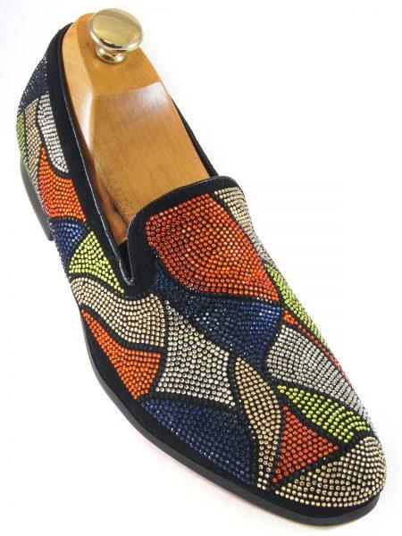 Fiesso Men Blue Orange Silver Multi Rhinestone Abstract Design SlipOn Party Shoe